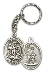 Antique Silver St. Michael the Archangel Keychain
