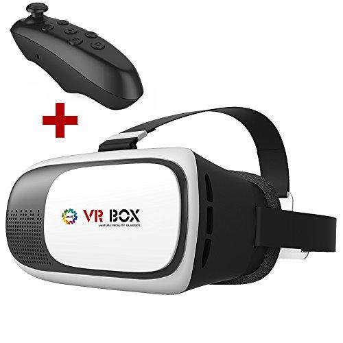 Lunettes vidéo 3D réalité virtuelle pour TV téléphone Lunettes 3D Un large éventail de soutien CST-09 VR BOX 3D aveccontrôleur de jeu Bluetooth
