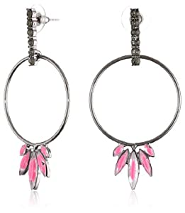 Steve Madden Pink Crystal Hoop Earrings