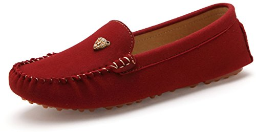 803Hong39 Women Flats Leather Slip-On Polyurethane Suede Moccasins Fashion Driving Loafer Shoes Red Us 7.5