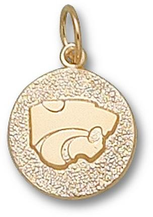 Kansas State Wildcats Power Cat Disk Charm - 14KT Gold Jewelry by Logo Art