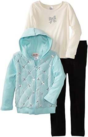 Little Lass Girls 2-6x 3 Piece Fur Jacket Set With Hood, Blue, 6