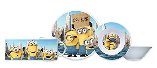 """'Minions 0122070Set da colazione """"Minions in New York, 3pezzi, porcellana, bianco"""