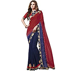 Vasu Saree Incredible Red & Navy Blue Designer Saree