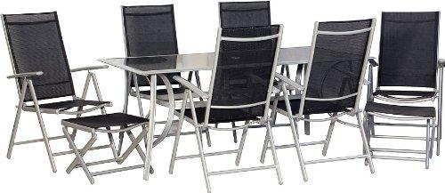 IB-Style - JAMAICA XXL top mobili da giardino gruppo di sedie 9-parti metallo / in tessuto nero