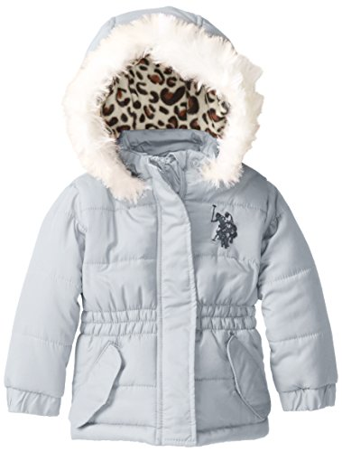 Us Polo Association Baby-Girls Infant Puffer Jacket With Faux Fur Trimmed Hood, Silver, 18 Months