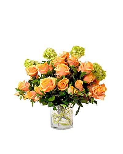 Creative Displays Rose and Viburnum Water Floral, Orange/Green