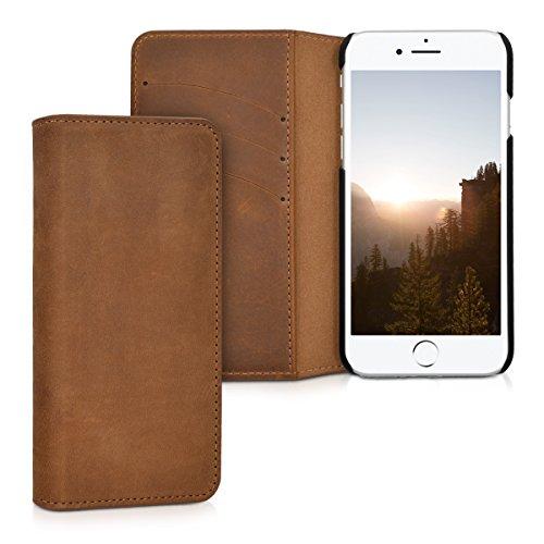 kalibri-Echtleder-Tasche-Hlle-fr-Apple-iPhone-7-Case-mit-Fchern-und-Stnder-in-Cognac
