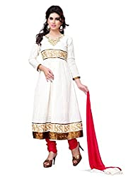 Diva Fusion Womens Cotton Anarkali Dress Material (Dfa126 _White And Pink _Free Size)