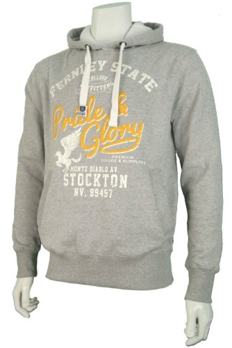 Mens 'Pride & Glory' College Style Over Head Hoodie With Print. Style Name - Erath. In Grey Marl Size - Small