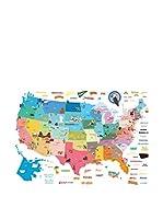 Ambiance Live Vinilo Decorativo United States Map Multicolor