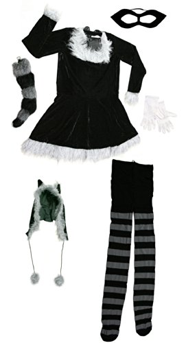 Fun World Raccoon Costume for Women Size 2-14 Black-Gray [121714 + KA34]