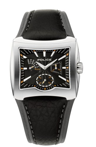 Police 'Enterprise' Gents Black Leather Strap And Black Dial Watch