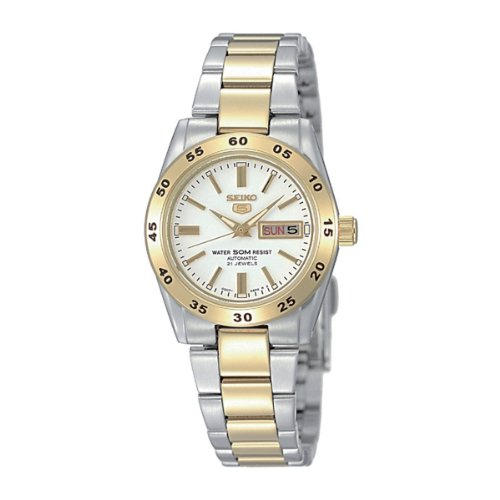 Ladies Seiko 5 Two Tone Automatic With Satin Silver Face  &  Day  &  Date SYMG42K1