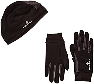 Ronhill Vizion Beanie And Glove Set - Black/Slate