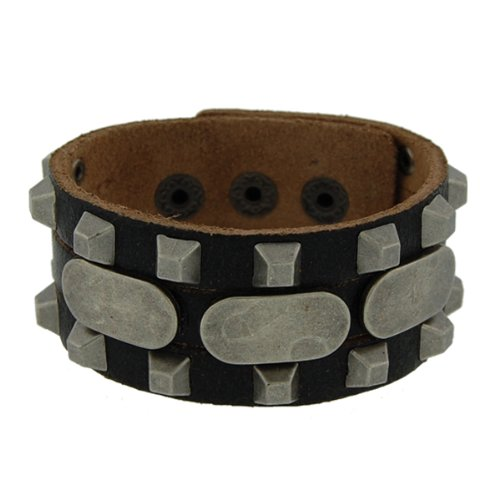 Genuine Leather Tenacious Black Vintage Biker Bracelet