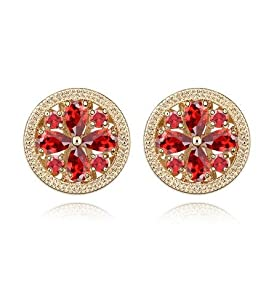 GoSparking Swarovski Elements Red Crystal 18K Rose Gold Plated Alloy Pierced Earrings with Austrian Crystal For Women ER28328