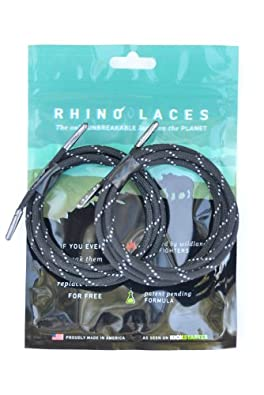 Rhino Laces - Unbreakable Shoelace- Reflective Black - Small (1 Pair, 6-10 pairs of eyelets)
