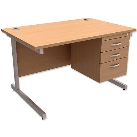 Producto nuevo. Trexus contrato escritorio Rectangular con 3cajones Pedestal patas plateadas W1200x D800x H725mm madera de haya