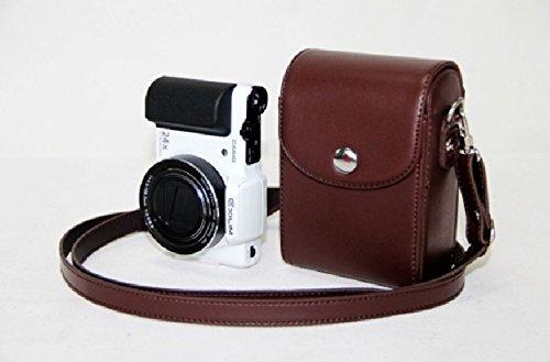 MoreGift4U Schutz PU-Leder Kamera-Schulter-Rucksack Reisen Rucksack-Tasche Tasche Hülle für Samsung WB800F WB201F WB200F WB280F WB150 / F Dunkelbraun + Free-Schulter-Ansatz-Bügel-Gurt