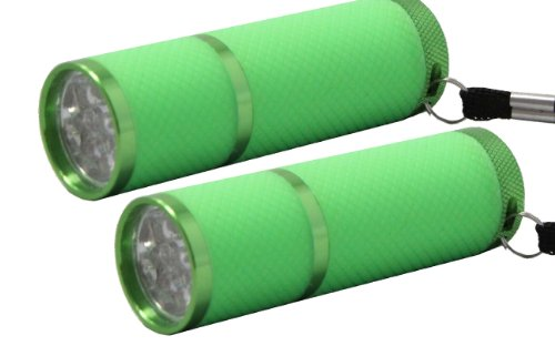 (Pack Of 2) Ultra Bright 9 Led Flashlight - Glow In The Dark Water Resistant Rubber Coated Body + Aaa Batteries (Green)