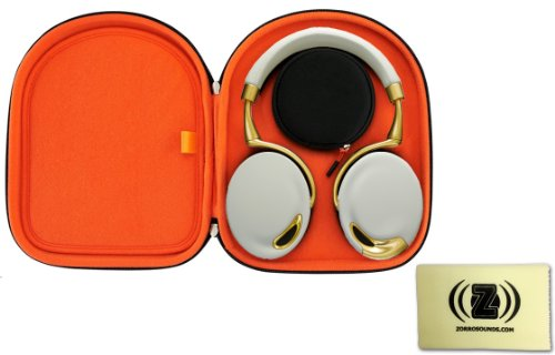 Parrot Zik Wireless Noise Cancelling Headphones With Touch Control Bundle With Zik Case And Zorro Sounds Cleaning Cloth (Yellow Gold)