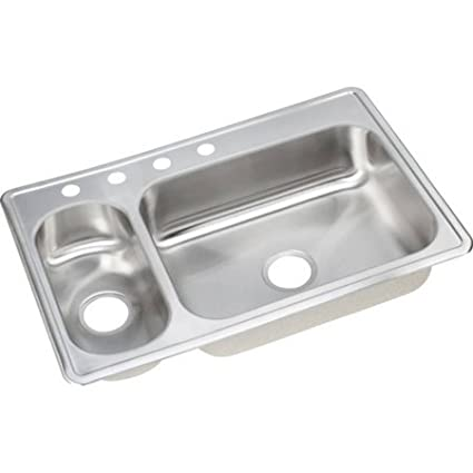 Elkay DEMR233224 Dayton Stainless Steel Double Bowl Top Mount Sink with 4 Faucet Holes, Satin