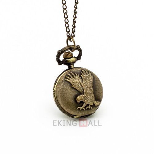 Vantasy Mini Eagle Retro Carving Bronze Color Quartz Pocket Watch Necklace Chain Pendant