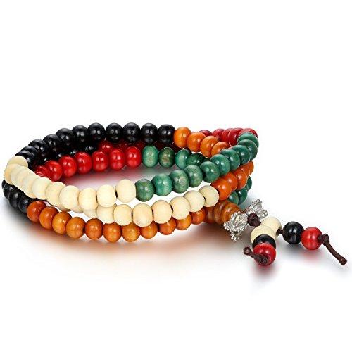 flongo-6mm-bois-bracelet-lien-poignet-collier-chaine-tibetain-bouddhiste-cinq-couleurs-santal-perle-