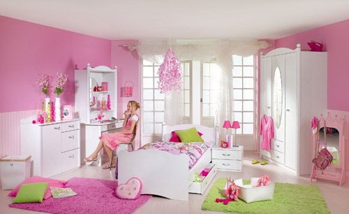 Jugendzimmer 4-tlg. in Alpinweiß, Schrank B: 146 cm, Schreibtisch B: 110, Schreibtischaufsatz B: 101 cm, Liege 90 x 200 cm