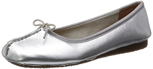 Clarks - Freckle Ice, Mocassino da donna, Grigio (Grau (Silver Leather)), 38