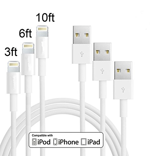 DT-charger 3Pack 3FT 6FT 10FT 3IN1 Extended Extra Long and Extremely Durable 8Pin to USB Cable Cord Wire for iPhone 6/6 Plus/6s/6s Plus/5/5c/5s, iPad 4 Mini Air iPod Nano 7 iPod Touch 5(White) (3in1 Iphone Charger compare prices)