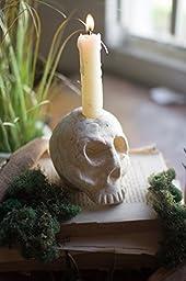 Kalalou Skull Clay Candle Stick Holder