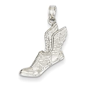 14k Yellow or White Gold Running Shoe with Wings Pendant