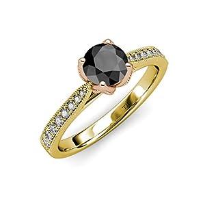 Black & White Diamond Milgrain 2 Tone Solitaire Plus Engagement Ring 1.16 ct tw in 14K Yellow Gold