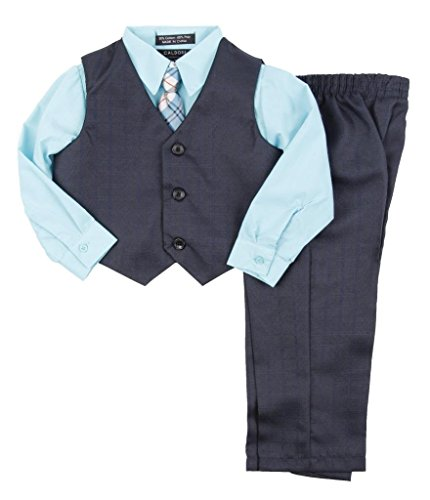 Caldore USA Little Boys 2-7 Navy and Aqua Vest Clothing Set