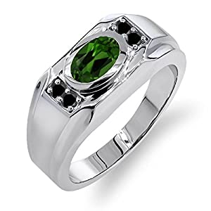 1.41 Ct Oval Green Chrome Diopside Black Diamond 925 Sterling Silver Men's Ring