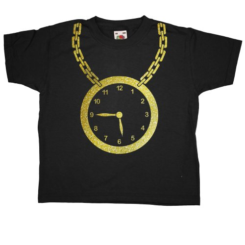 Refugeek Tees Kinder Hip Hop Clock T Shirt - Black - 3-4 years