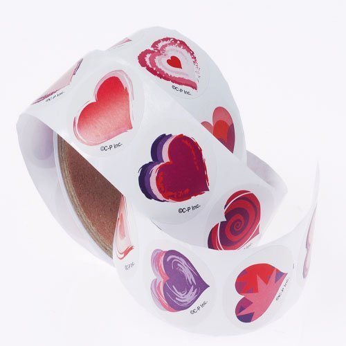 Lot Of 100 Assorted Valentines Heart Design Stickers