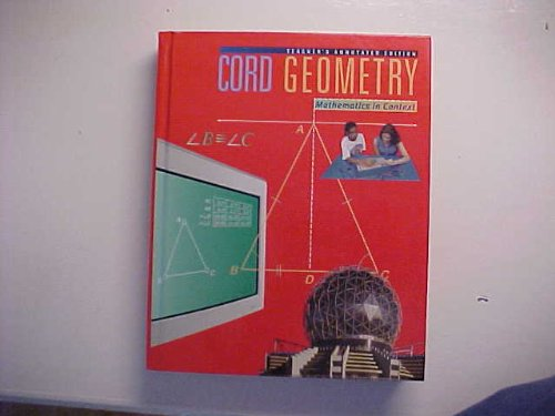 Cord Geometry Mathematics In Context Teacher's Annotated Edition ISBN 0538681284 (Cord Leading Change In Education) PDF