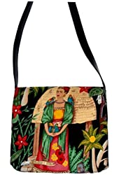 """US HANDMADE FASHION Messenger Bag With """"FRIDA IN GARDEN WITH PARROTS"""" Shoulder Bag , COTTON, NEW, MS 1511-2"""