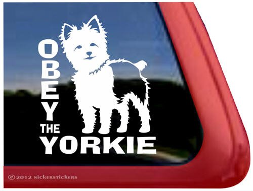 Obey The Yorkie ~ Dog Vinyl Window Decal Sticker front-170933