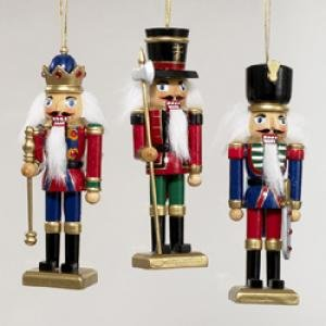 3 Wooden Nutcracker Soldier Ornamments