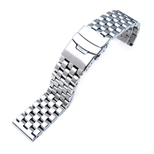20mm-Brushed-Engineer-Solid-Link-316l-Stainless-Steel-Watch-Bracelet-Band