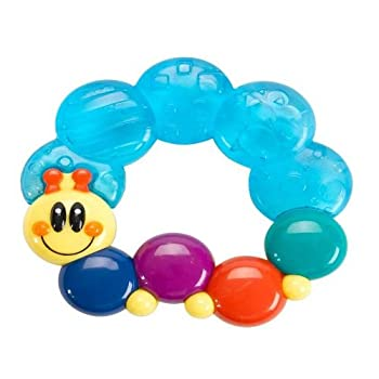 Soft water filled teether with multiple textures; Shaped with multiple tactile surfaces for baby to explore.
