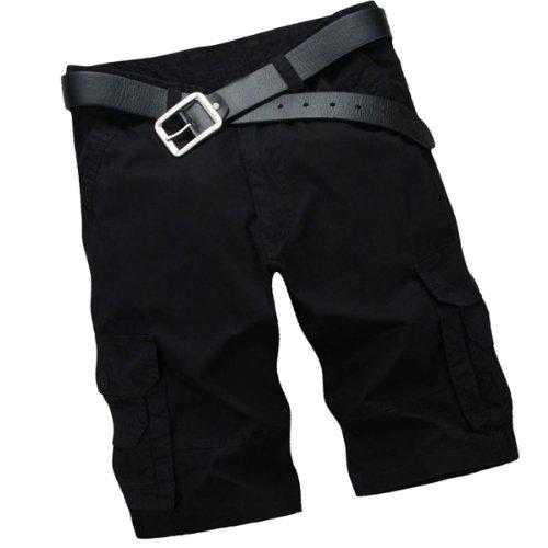 Aubig Vintage Herren Baumwolle Casual Cargo Shorts kurze Cargohose Arbeitshose mit PU Leder Gürtel - Schwarz, Größe M (asiatische Größe 32)