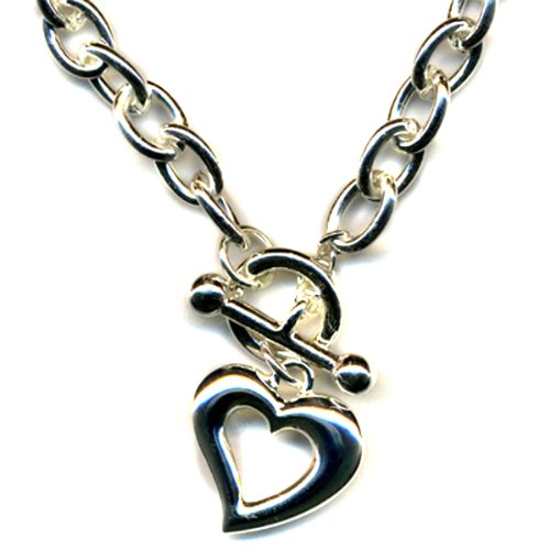 Open Heart Charm Chunky Chain Link Toggle Closure Necklace Silver Rhodium PL 18