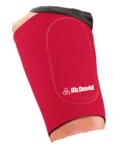 McDavid Neoprene Deluxe Thigh Support, Black-Red, Small