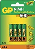 GP 600mAh AAA NiMH Rechargeable Batteries 4 Pack portable sound vision