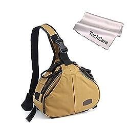 TechCare Tm Ultra Light DSLR Camera Khaki Case Travel Shoulder Bag for Canon EOS 70D, 60D, 6D, T3i, T4i, T5i, 7D, 5D MK Series, Nikon D750, D610, D600, D7000, D7100, D5200, D3200, D800, D300s